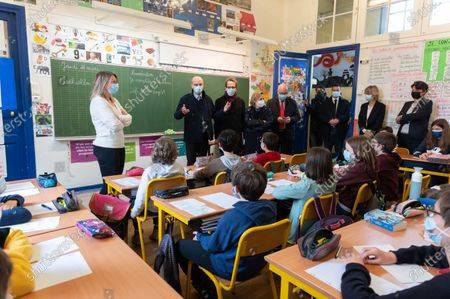 Editorial photo of Blanquer visits Arbalete elementary school, Paris, France - 18 Mar 2021