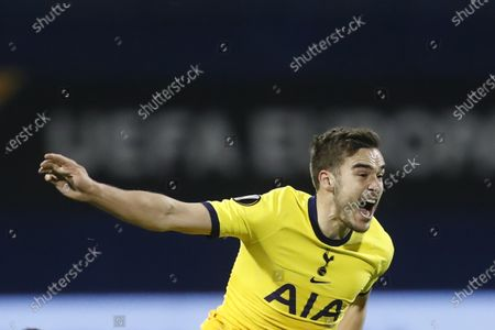 Tottenham's Harry Winks reacts during the Europa League round of 16 second leg soccer match between Dinamo Zagreb and Tottenham Hotspur at the Maksimir stadium in Zagreb, Croatia