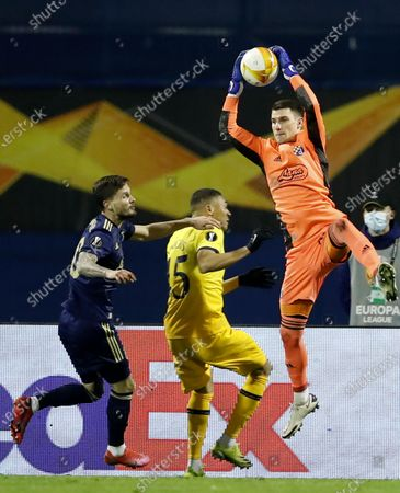 Dinamo goalkeeper Dominik Livakovic (R) in action during the UEFA Europa League Round of 16, second leg match between Dinamo Zagreb and Tottenham Hotspur in Zagreb, Croatia, 18 March 2021.