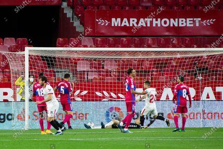 "Franco ""Mudo"" Vazquez of Sevilla celebrates his goal"