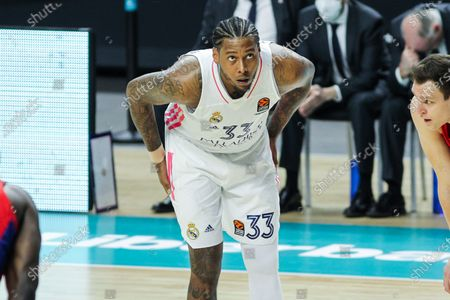 Trey Thompkins of Real Madrid looks on during Euroleague basketball match played between Real Madrid and PBC CSKA Moscow at Wizink Center stadium on March 18, 2021 in Madrid, Spain.