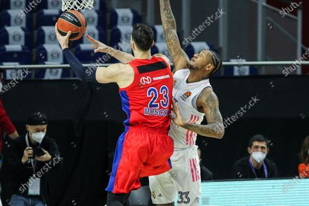 Tornike Shengelia of CSKA Moscow and Trey Thompkins of Real Madrid in action during Euroleague basketball match played between Real Madrid and PBC CSKA Moscow at Wizink Center stadium on March 18, 2021 in Madrid, Spain.