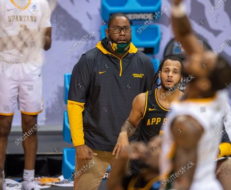 Norfolk State head coach Robert Jones watched the action on the court during the first half of a First Four game against Appalachian State in the NCAA men's college basketball tournament, in Bloomington, Ind
