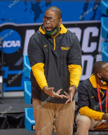 Norfolk State head coach Robert Jones reacts to the action on the court during the first half of a First Four game against Appalachian State in the NCAA men's college basketball tournament, in Bloomington, Ind