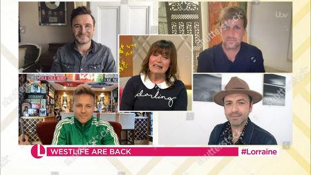 Stock Picture of Lorraine Kelly, Shane Filan, Kian Egan, Nicky Byrne and Mark Feehily