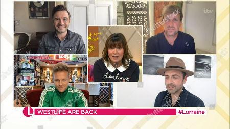 Stock Image of Lorraine Kelly, Shane Filan, Kian Egan, Nicky Byrne and Mark Feehily