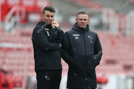 Wayne Rooney, manager of Derby with Shay Given
