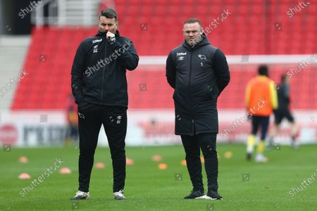 Shay Given and Wayne Rooney, manager of Derby