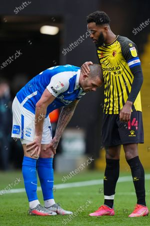 Stock Picture of Nathaniel Chalobah of Watford consoles Harlee Dean of Birmingham City at full-time