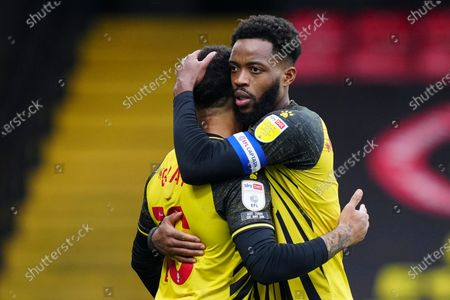 Nathaniel Chalobah of Watford celebrates with Andre Gray of Watford at full-time