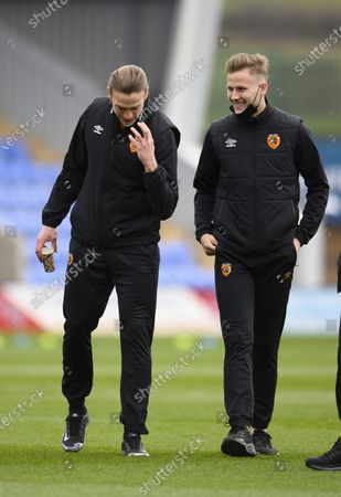 James Scott of Hull City inspects the pitch with Tom Eaves of Hull City.