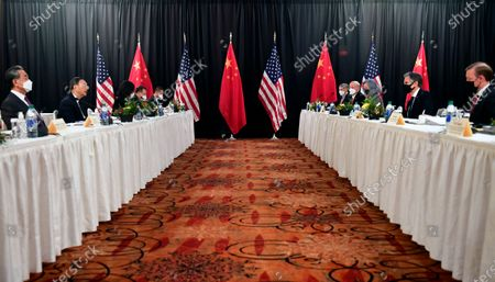 "Secretary of State Antony Blinken, second from right, joined by national security adviser Jake Sullivan, right, speaks while facing Chinese Communist Party foreign affairs chief Yang Jiechi, second from left, and China's State Councilor Wang Yi, left, at the opening session of U.S.-China talks at the Captain Cook Hotel in Anchorage, Alaska. China said, a ""strong smell of gunpowder and drama"" resulted from talks with top American diplomats in Alaska, continuing the contentious tone of the first face-to-face meetings under the Biden administration"