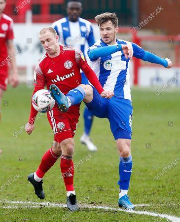 David Morgan of Accrington Stanley and Lee Evans of Wigan Athletic