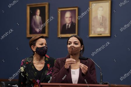 Congresswoman Alexandria Ocasio Cortez(D-NY) alongside Nydia Velzquez(D-NY) speaks during a press conference about bicameral introduction of the Puerto Rico Self-Determination Act of 2021, today on March 18, 2021 at Rayburn HOB/Capitol Hill in Washington DC, USA.