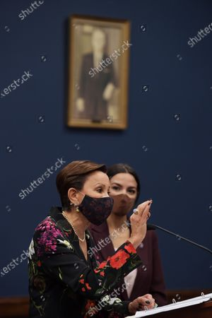 Congresswoman Nydia Velzquez(D-NY) alongside Alexandria Ocasio Cortez(D-NY) speaks during a press conference about bicameral introduction of the Puerto Rico Self-Determination Act of 2021, today on March 18, 2021 at Rayburn HOB/Capitol Hill in Washington DC, USA.
