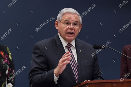 Senator Bob Menndez(D-NJ) speaks during a press conference about bicameral introduction of the Puerto Rico Self-Determination Act of 2021, today on March 18, 2021 at Rayburn HOB/Capitol Hill in Washington DC, USA.