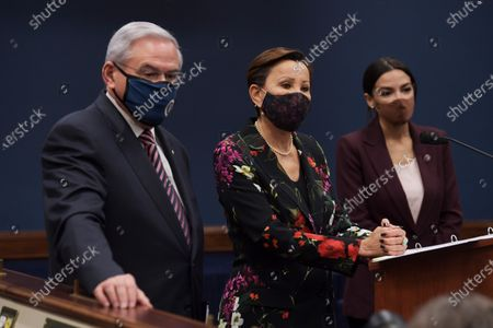Congresswoman Nydia Velzquez(D-NY)(center) alongside Alexandria Ocasio Cortez(D-NY) and Senator Bob Menndez(D-NJ) speaks during a press conference about bicameral introduction of the Puerto Rico Self-Determination Act of 2021, today on March 18, 2021 at Rayburn HOB/Capitol Hill in Washington DC, USA.