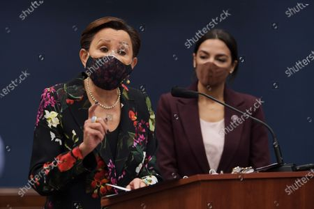 Congresswoman Nydia Velzquez(D-NY)(left) alongside Alexandria Ocasio Cortez(D-NY)(right) speaks during a press conference about bicameral introduction of the Puerto Rico Self-Determination Act of 2021, today on March 18, 2021 at Rayburn HOB/Capitol Hill in Washington DC, USA.