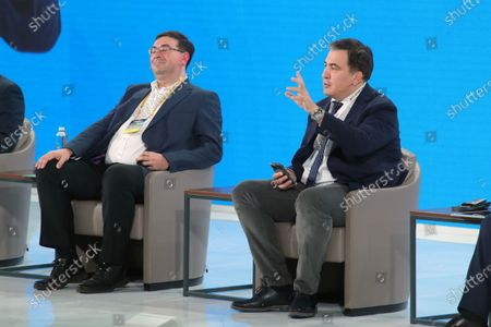 Deputy head of the State Tax Service of Ukraine Yevhen Oleinikov and head of the Executive Committee of the National Reforms Council of Ukraine Mikheil Saakashvili (L to R) are pictured during the Tax Office Reform: Optimal Model session on Day Three at the Ukraine 30. Small and Medium Business and the State Forum at the Parkovy Kyiv International Convention Center, Kyiv, capital of Ukraine.