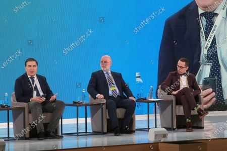 Head of the Executive Committee of the National Reforms Council of Ukraine Mikheil Saakashvili, president of the Association of Taxpayers of Ukraine, Ambassador Extraordinary and Plenipotentiary of Georgia to Ukraine (2009-2013) Grigol Katamadze and Deputy Business Ombudsman Yaroslav Gregirchak (L to R) are pictured during the Tax Office Reform: Optimal Model session on Day Three at the Ukraine 30. Small and Medium Business and the State Forum at the Parkovy Kyiv International Convention Center, Kyiv, capital of Ukraine. Ukrinform