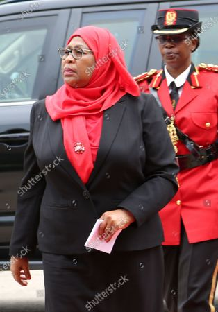 New Tanzanian President Samia Suluhu Hassan (L) arrives to sign a book of condolences for former president John Magufuli after being sworn in as the sixth President of Tanzania in Dar es Salaam, Tanzania, 19 March 2021. Tanzania's former Vice president Samia Suluhu Hassan was sworn in as President and will serve the remainder of Magufuli's 2nd five-year term, which expires in 2025. She is Tanzania's first female Head of State following former president John Magufuli's  death on 17 March 2021 at the age of 61.