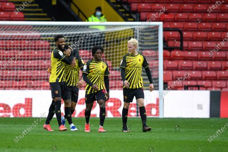 Nathaniel Chalobah of Watford congratulates Andre Gray for his goal and Watfords third for 3-0 in the 80th minute; Vicarage Road, Watford, Hertfordshire, England; English Football League Championship Football, Watford versus Birmingham City.