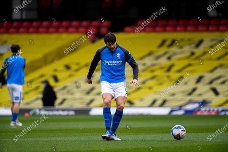 George Friend warms up for Birmingham City.; Vicarage Road, Watford, Hertfordshire, England; English Football League Championship Football, Watford versus Birmingham City.