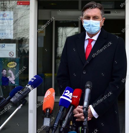 Slovenian President Borut Pahor speaks to the press after receiving the first dose of the Oxford Astra-Zeneca COVID-19 vaccine in front of media at the NIJZ National institute of Public Health in Ljubljana, Slovenia, 19 March 2021. EU member countries reintroduce the AstraZeneca Covid-19 vaccine in their inoculation campaigns following the previous day's European Medicines Agency (EMA) announcement to uphold its approval of the vaccine. Some countries stopped giving the vaccine over fears there might be links between the vaccination against Covid-19 with the AstraZeneca vaccine and a rare number of blood clots.