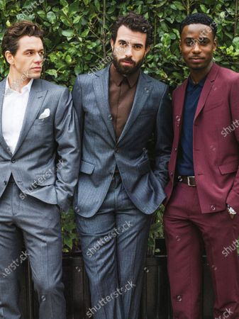 From left: Actors Julian Ovenden wearing a Tom Ford suit, Tom Cullen in Salvatore Ferragamo suit, and Gary Carr in Dior Homme suit. Julian Ovenden, Tom Cullen, Gary Carr