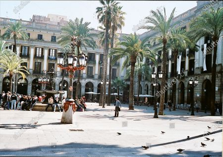A view of the palm trees and terraces at Plaça Reial, a 19th-century neoclassical square.