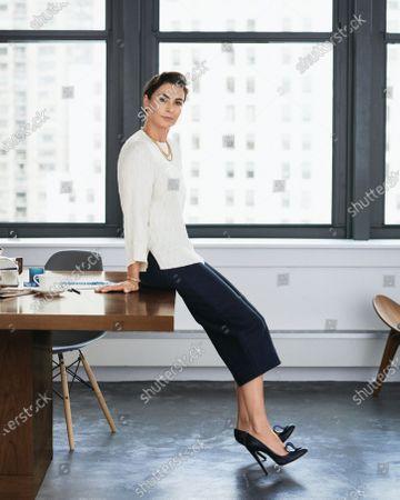 Jewelry designer Francesca Amfitheatrof wearing a Céline blouse with Chloé culottes. Francesca Amfitheatrof