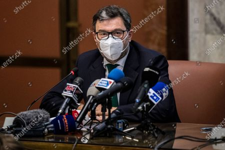 Italian Minister of Economic Development Giancarlo Giorgetti during a press conference after his meeting