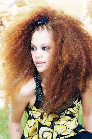 Stock Picture of Young woman with big naturally curly hair, untamed.