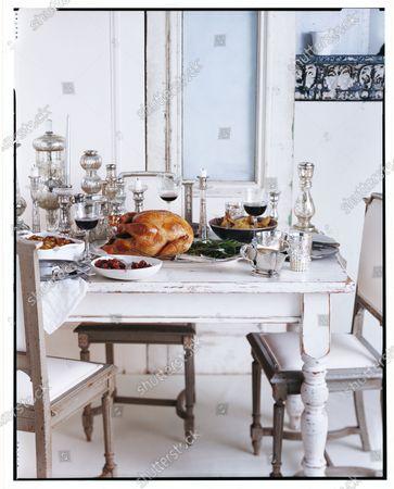 Stock Photo of Thanksgiving Dinner Table Setting.