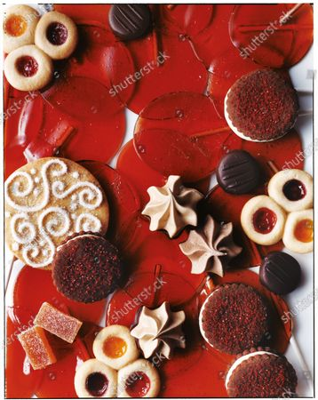 Christmas holiday cookies and candies seen from above.