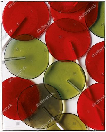 Red and Green lollipops.