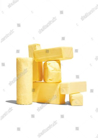 Sticks of butter and butter-like spreads, including salted butter, sweet butter, cultured butter, European butter, and margarine.