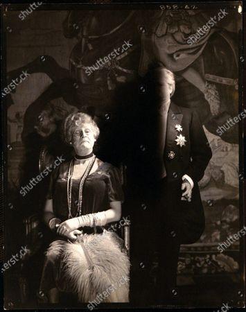 Actor Hugo Rumbold wearing a dress, as Frau Generalin, with actress Elsa Maxwell in general's costume, at Elsa Maxwell's masquerade ball at the Ritz-Carlton in New York City. Hugo Rumbold, Elsa Maxwell
