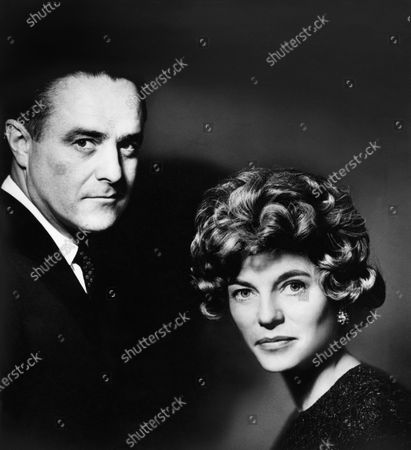 Stock Picture of Robert Sargent Shriver Jr., director of the Peace Corps, with his wife Eunice Shriver (formerly Eunice Kennedy). Robert Sargent Shriver Jr., Eunice Shriver