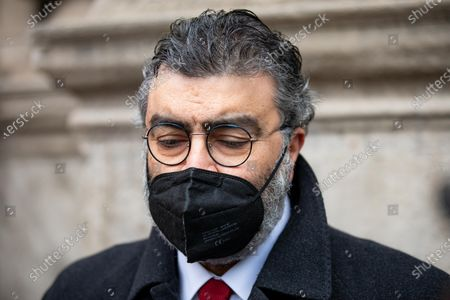 Emanuele Fiano is seen at Carlo Tognoli funeral home at Sala Alessi in Palazzo Marino on March 06, 2021 in Milan, Italy.