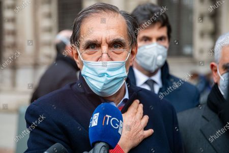 Stock Picture of Ignazio La Russa is seen at Carlo Tognoli funeral home at Sala Alessi in Palazzo Marino on March 06, 2021 in Milan, Italy.