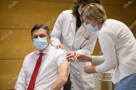 Slovenian president Borut Pahor, being vaccinated. Slovenian senior State officials, including President Borut Pahor, and Prime Minister Janez Jansa, were vaccinated against covid-19 with the AstraZeneca vaccine.