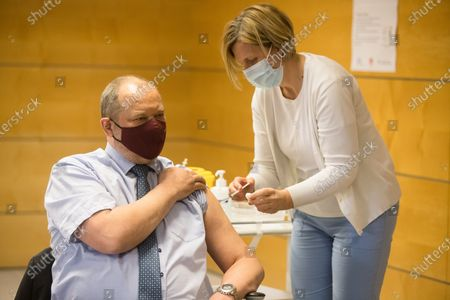 The President of the National Council of Slovenia Alojz Kovsca, being vaccinated. Slovenian senior State officials, including President Borut Pahor, and Prime Minister Janez Jansa, were vaccinated against covid-19 with the AstraZeneca vaccine.