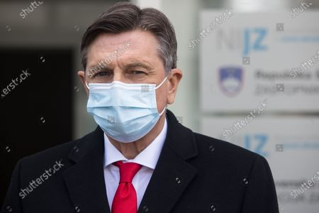 Stock Picture of Slovenian president Borut Pahor speaks to the press after being vaccinated. Slovenian senior State officials, including President Borut Pahor, and Prime Minister Janez Jansa, were vaccinated against covid-19 with the AstraZeneca vaccine.