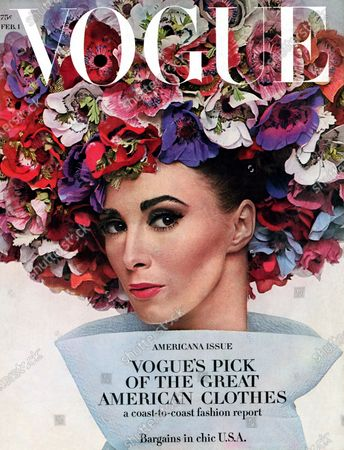 Vogue February 01, 1964 Magazine Cover featuring: Wilhelmina in large flowered hat by Dior with large, flared turtle neck collar. Wilhelmina