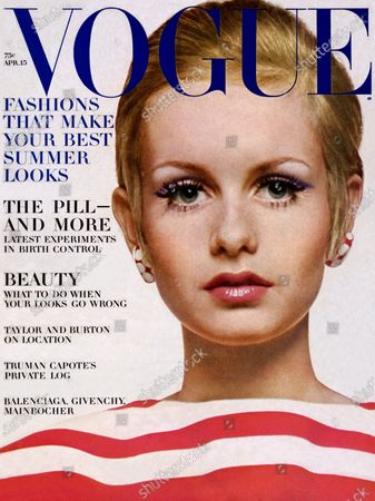 Vogue April 15, 1967 Magazine Cover featuring: Twiggy in red and white striped jersey. Twiggy