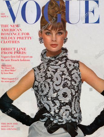 Vogue September 01, 1963 Magazine Cover featuring: Model Jean Shrimpton wearing black and white sequin top with a bow at the waist by Geoffrey Beene, with a silk gabardine skirt, long gloves by Viola Weinberger and cluster bead earrings by Laguna. Jean Shrimpton