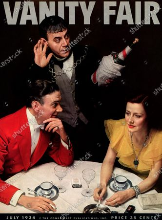 Vanity Fair July 01, 1934 Magazine Cover featuring: Photo A Super of Stars of Clifton Webb and Irene Dunne at table with Jimmy Savo as eavesdropping butler. Clifton Webb, Irene Dunne
