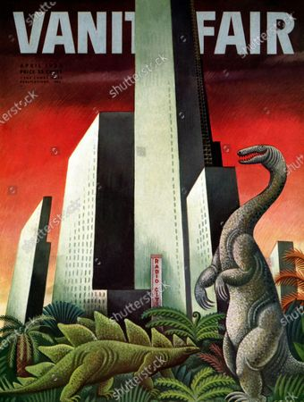 Vanity Fair April 01, 1933 Magazine Cover featuring: Rockefeller City - metropolis rising from prehistoric jungle with dinosaurs.