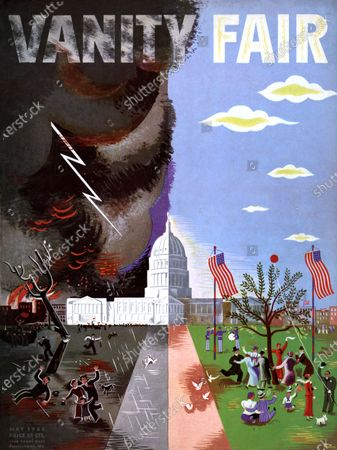 Vanity Fair May 01, 1933 Magazine Cover featuring: Everybody's Washington - scene of the Capitol and its lawn, one side sunny, one side stormy.
